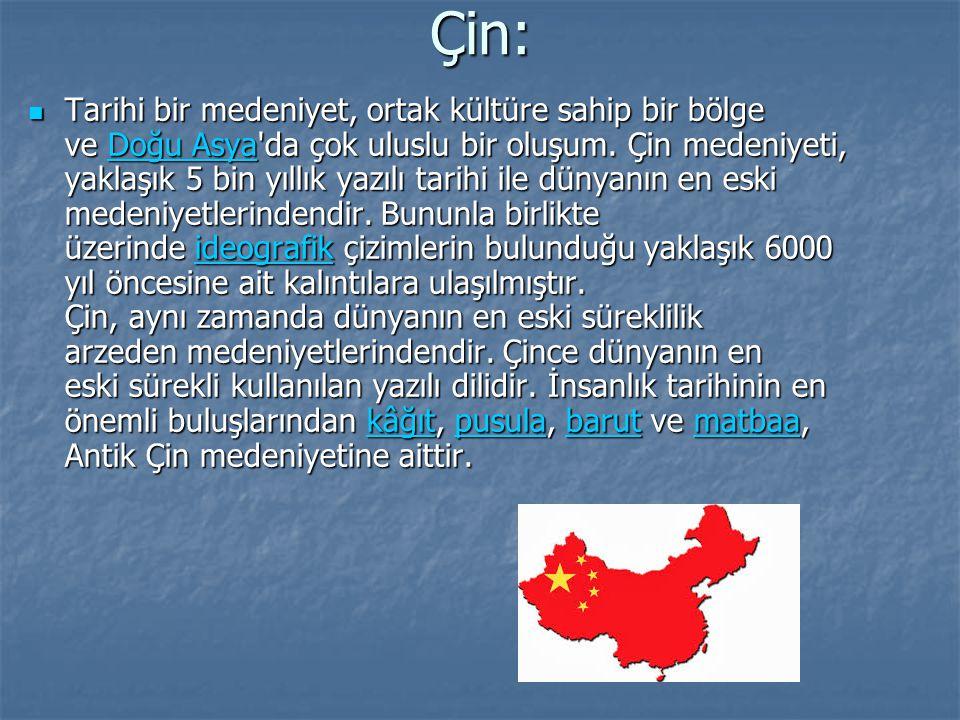 Çin: Tarihi bir medeniyet, ortak kültüre sahip bir bölge ve Doğu Asya'da çok uluslu bir oluşum. Çin medeniyeti, yaklaşık 5 bin yıllık yazılı tarihi il