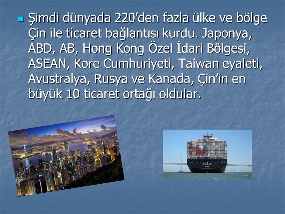 Şimdi dünyada 220'den fazla ülke ve bölge Çin ile ticaret bağlantısı kurdu. Japonya, ABD, AB, Hong Kong Özel İdari Bölgesi, ASEAN, Kore Cumhuriyeti, T