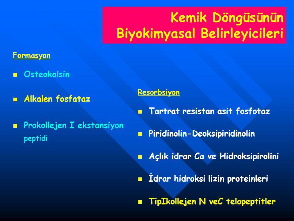 Kemik Döngüsünün Biyokimyasal Belirleyicileri Formasyon Osteokalsin Alkalen fosfataz Prokollejen I ekstansiyon peptidi Resorbsiyon Tartrat resistan as