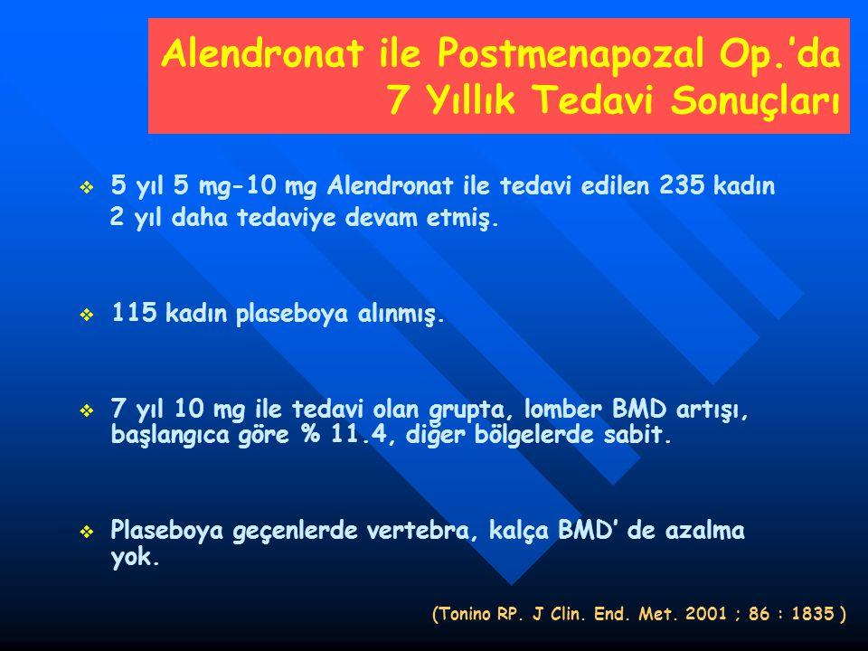 Alendronat ile Postmenapozal Op.'da 7 Yıllık Tedavi Sonuçları   5 yıl 5 mg-10 mg Alendronat ile tedavi edilen 235 kadın 2 yıl daha tedaviye devam et