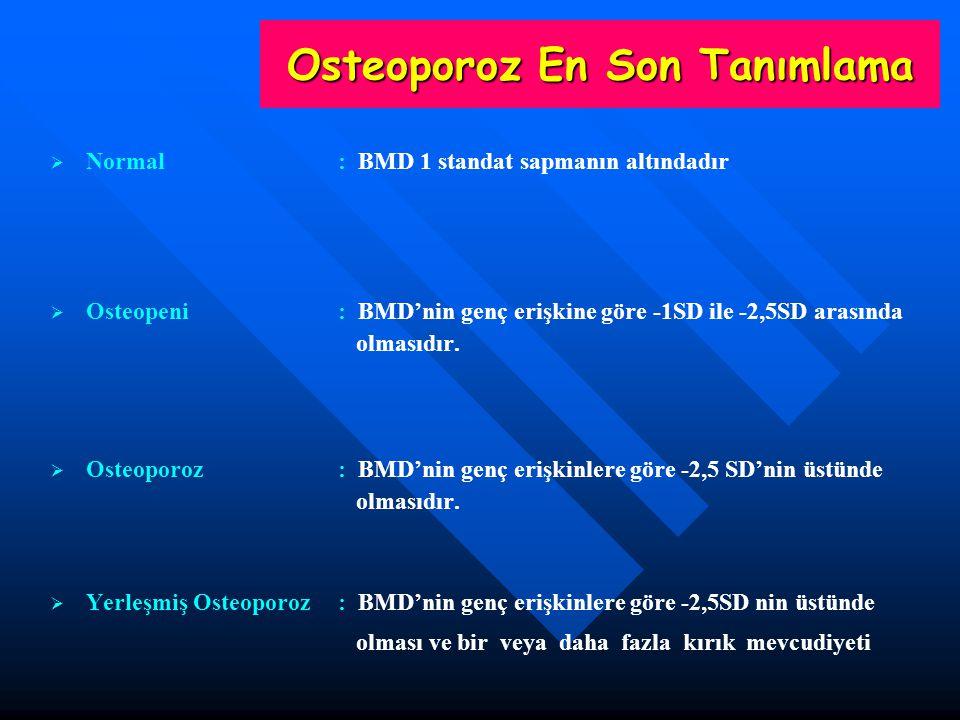 Osteoporoz En Son Tanımlama   Normal : BMD 1 standat sapmanın altındadır   Osteopeni : BMD'nin genç erişkine göre -1SD ile -2,5SD arasında olmasıd