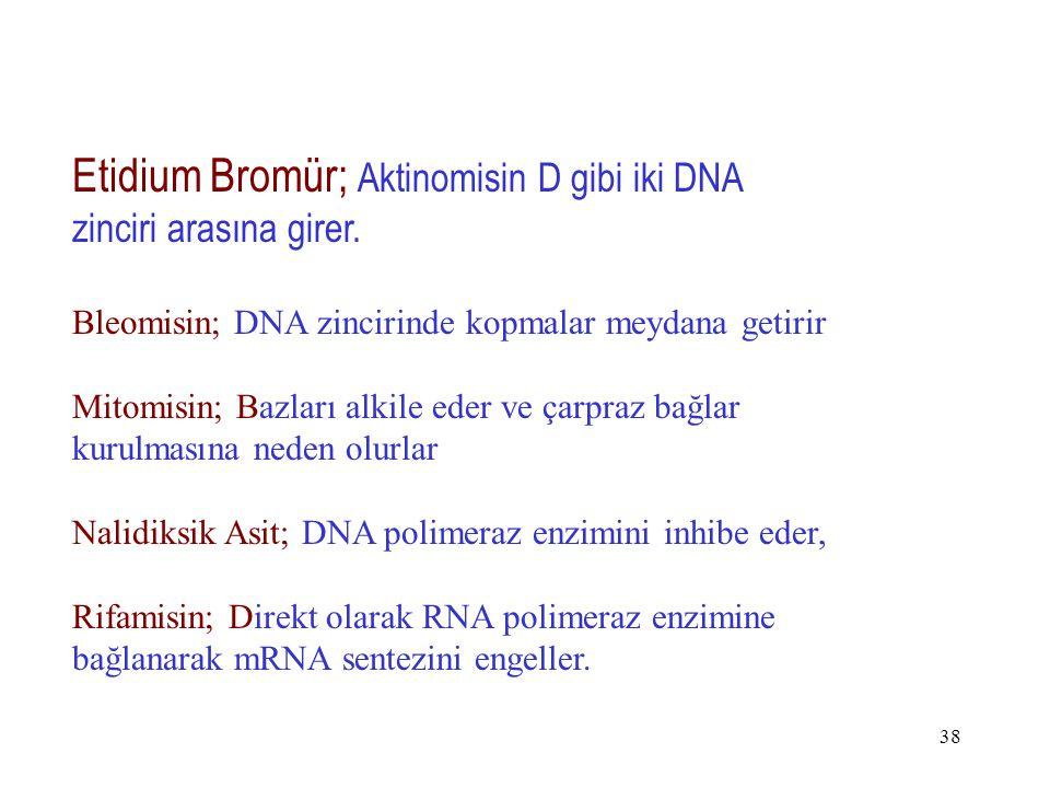 38 Etidium Bromür; Aktinomisin D gibi iki DNA zinciri arasına girer. Bleomisin; DNA zincirinde kopmalar meydana getirir Mitomisin; Bazları alkile eder