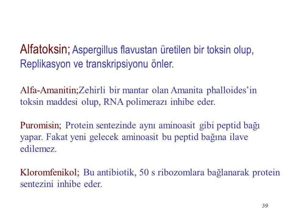 39 Alfatoksin; Aspergillus flavustan üretilen bir toksin olup, Replikasyon ve transkripsiyonu önler. Alfa-Amanitin;Zehirli bir mantar olan Amanita pha