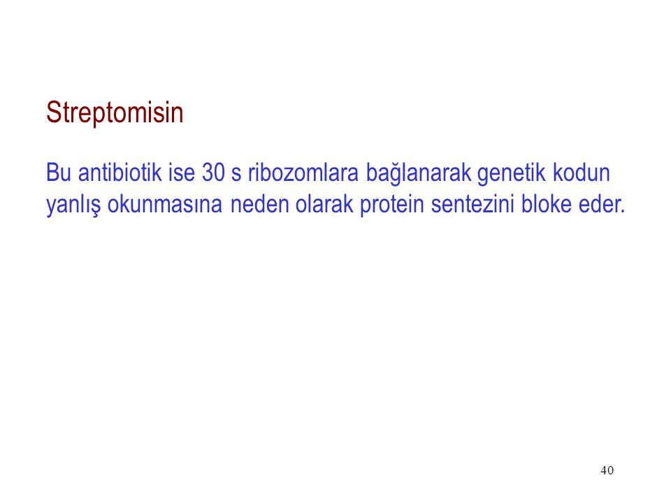40 Streptomisin Bu antibiotik ise 30 s ribozomlara bağlanarak genetik kodun yanlış okunmasına neden olarak protein sentezini bloke eder.