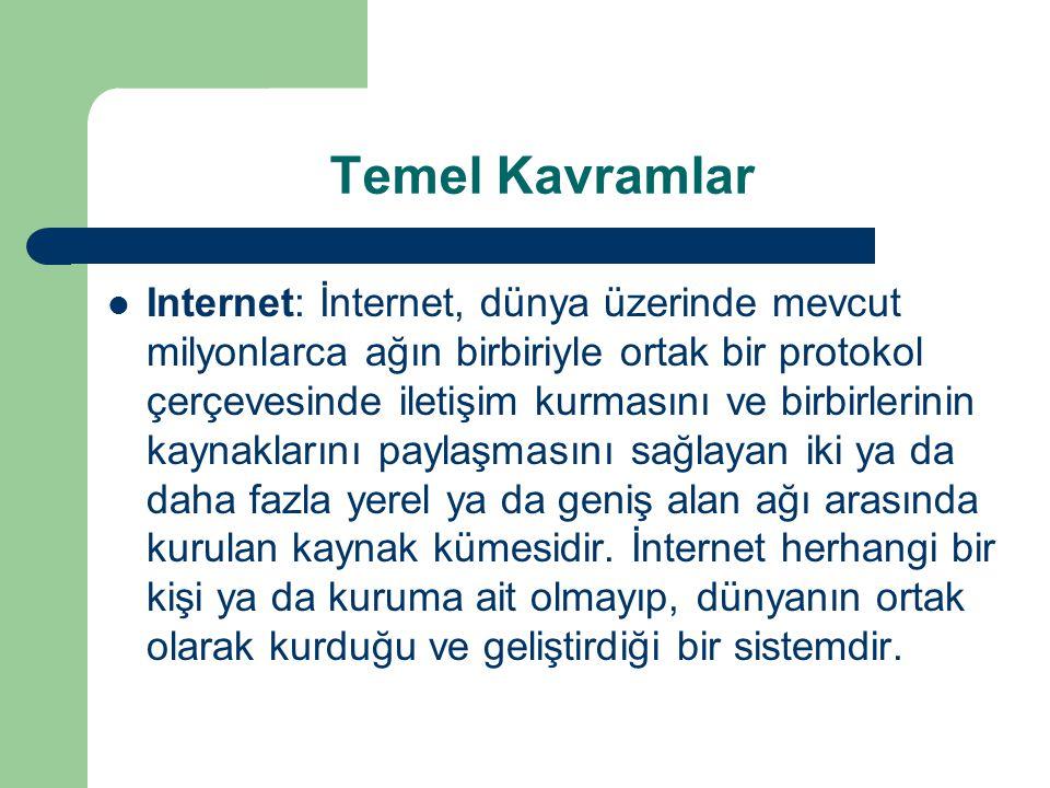 Temel Kavramlar Internet: İnternet, dünya üzerinde mevcut milyonlarca ağın birbiriyle ortak bir protokol çerçevesinde iletişim kurmasını ve birbirleri