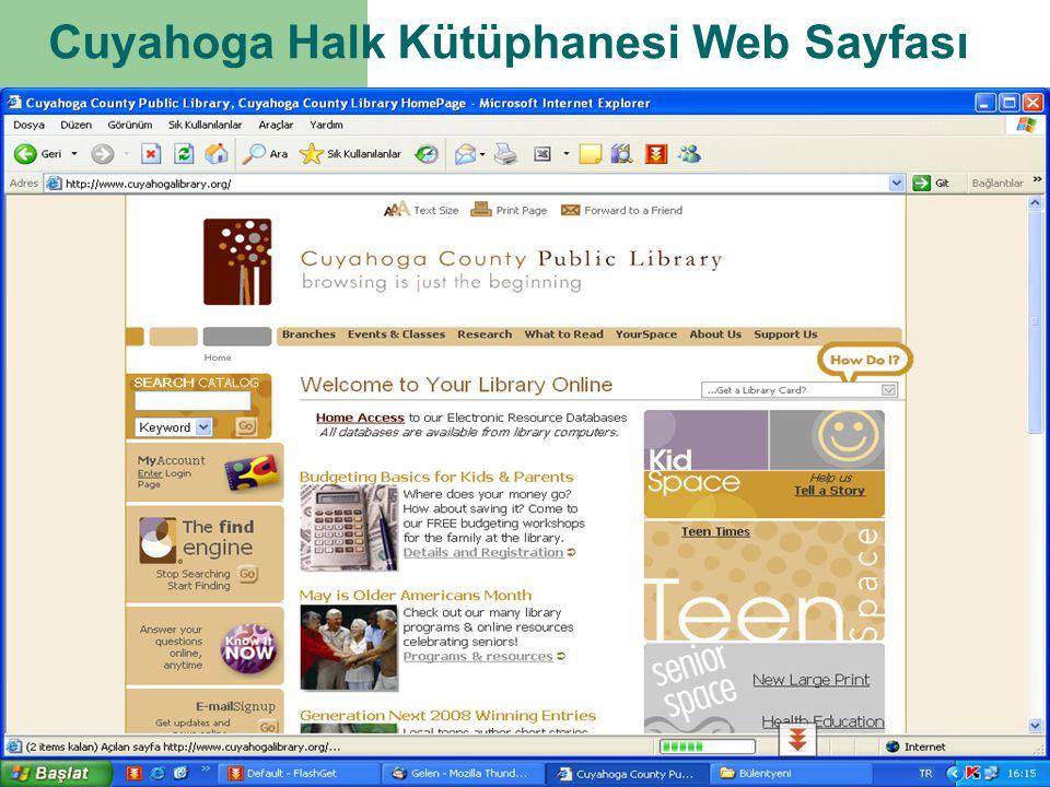 Cuyahoga Halk Kütüphanesi Web Sayfası