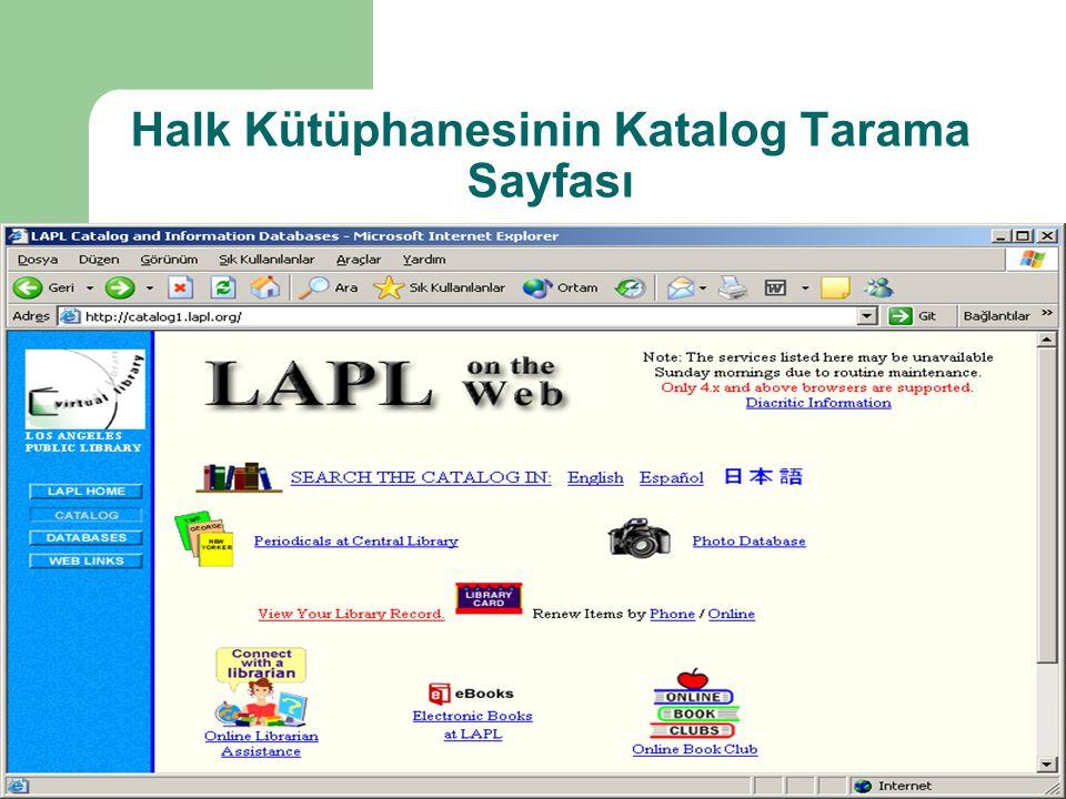 Halk Kütüphanesinin Katalog Tarama Sayfası