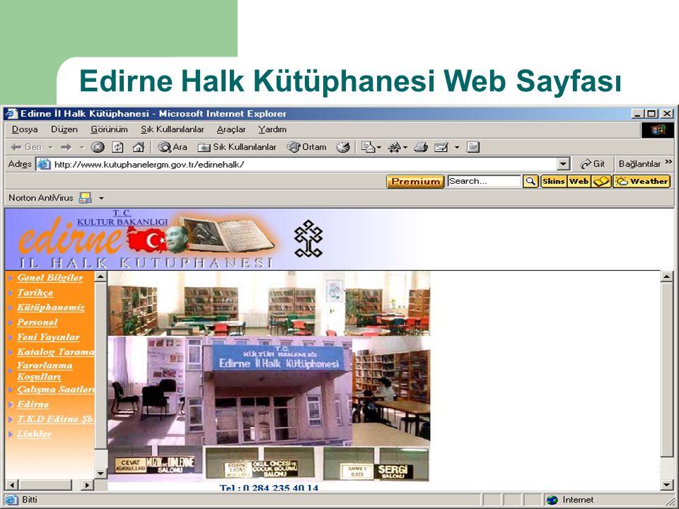 Edirne Halk Kütüphanesi Web Sayfası