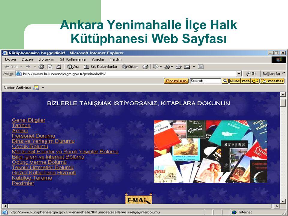 Ankara Yenimahalle İlçe Halk Kütüphanesi Web Sayfası