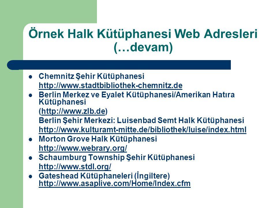 Örnek Halk Kütüphanesi Web Adresleri (…devam) Chemnitz Şehir Kütüphanesi http://www.stadtbibliothek-chemnitz.de Berlin Merkez ve Eyalet Kütüphanesi/Am