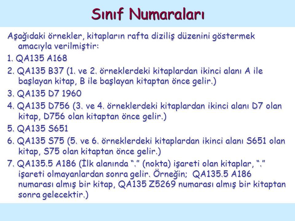 Aşağıdaki örnekler, kitapların rafta diziliş düzenini göstermek amacıyla verilmiştir: 1. QA135 A168 2. QA135 B37 (1. ve 2. örneklerdeki kitaplardan ik