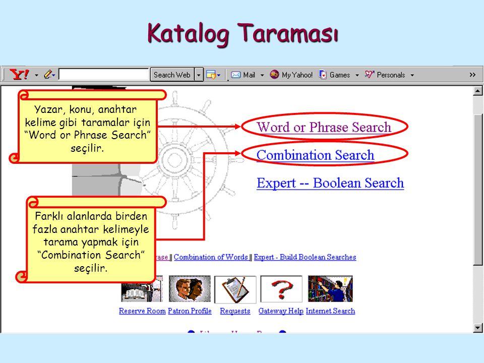 """Yazar, konu, anahtar kelime gibi taramalar için """"Word or Phrase Search"""" seçilir. Farklı alanlarda birden fazla anahtar kelimeyle tarama yapmak için """"C"""