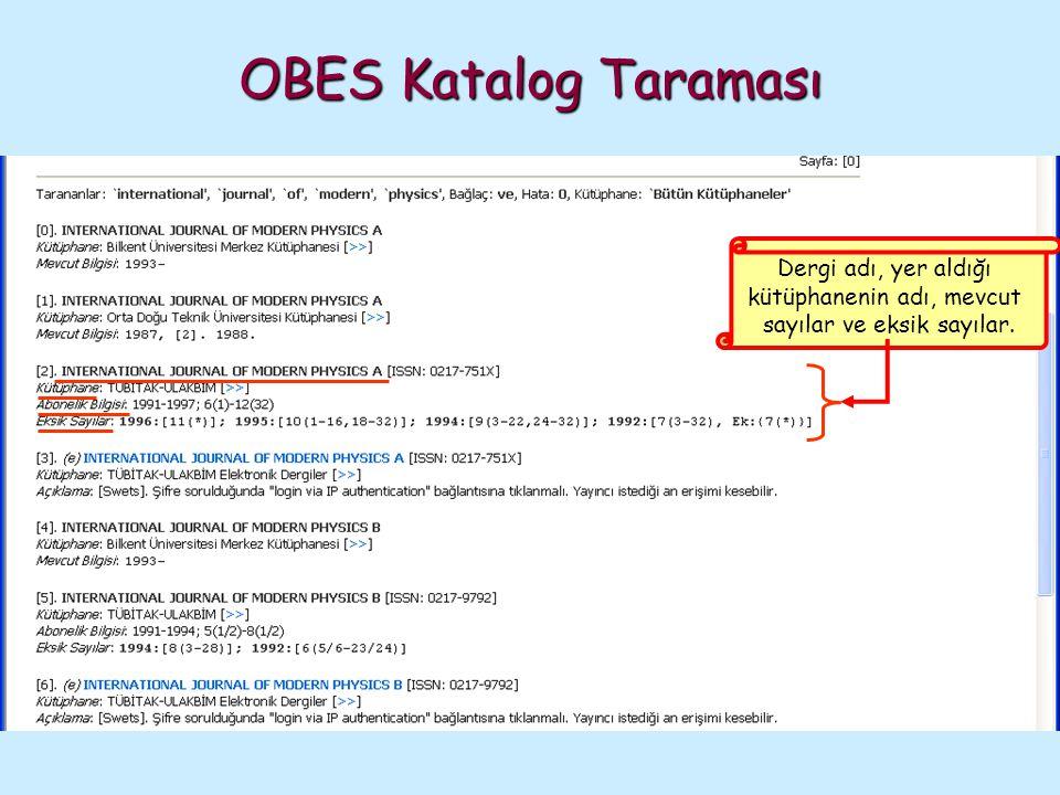 OBES Katalog Taraması Dergi adı, yer aldığı kütüphanenin adı, mevcut sayılar ve eksik sayılar.