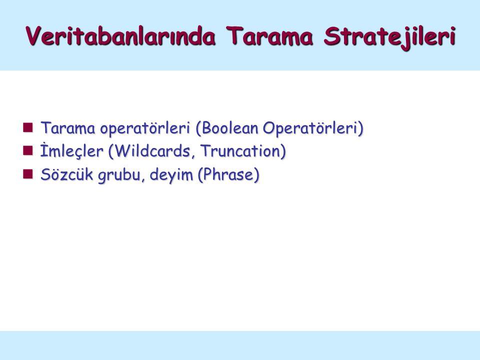 Tarama operatörleri (Boolean Operatörleri) Tarama operatörleri (Boolean Operatörleri) İmleçler (Wildcards, Truncation) İmleçler (Wildcards, Truncation