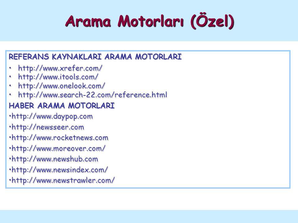 REFERANS KAYNAKLARI ARAMA MOTORLARI http://www.xrefer.com/ http://www.xrefer.com/ http://www.itools.com/ http://www.itools.com/ http://www.onelook.com