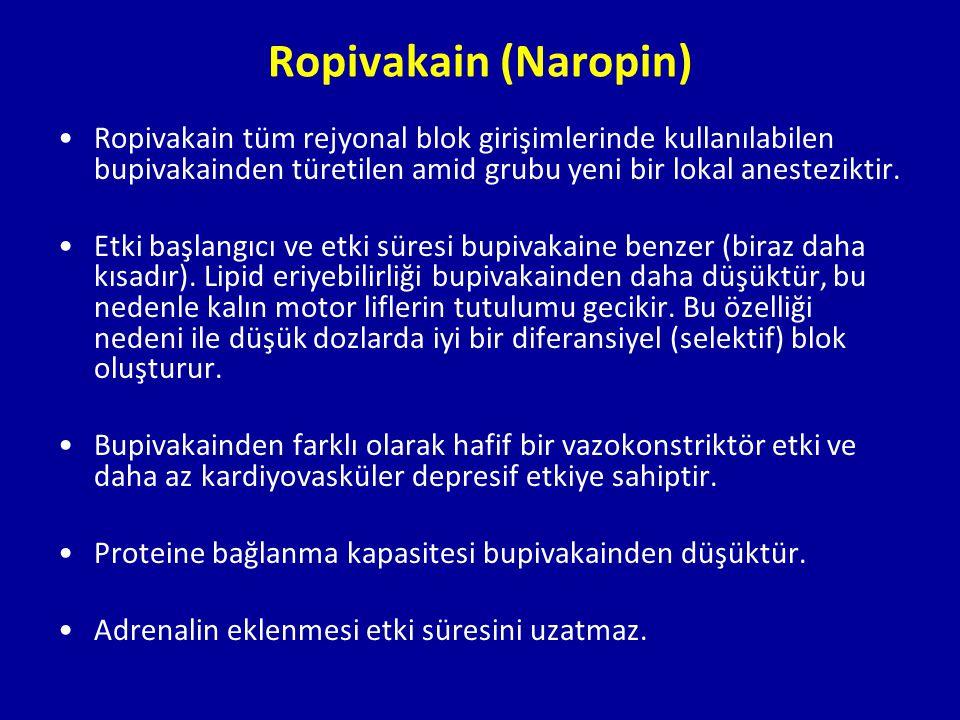 Ropivakain (Naropin) Ropivakain tüm rejyonal blok girişimlerinde kullanılabilen bupivakainden türetilen amid grubu yeni bir lokal anesteziktir. Etki b
