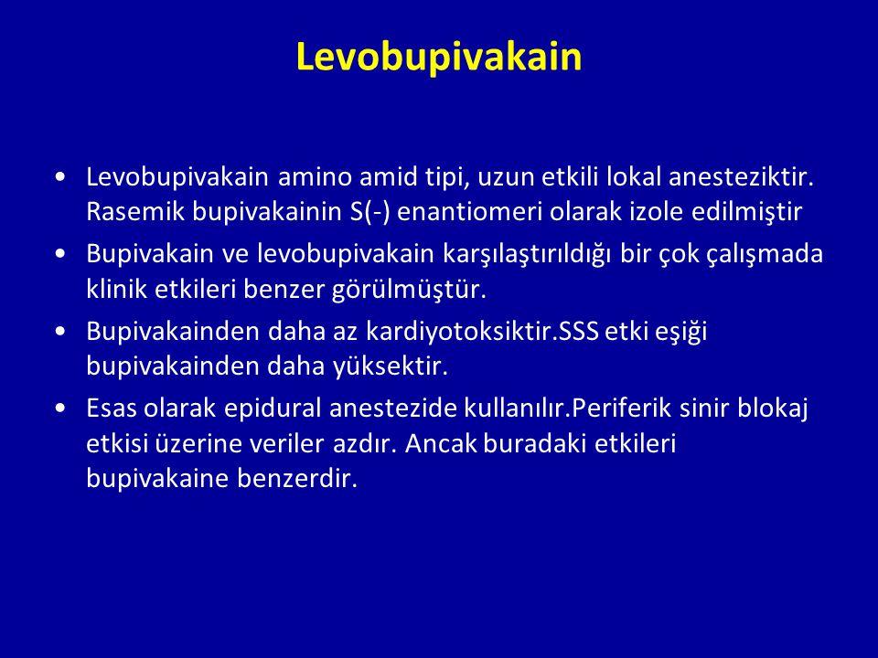 Levobupivakain Levobupivakain amino amid tipi, uzun etkili lokal anesteziktir. Rasemik bupivakainin S(-) enantiomeri olarak izole edilmiştir Bupivakai