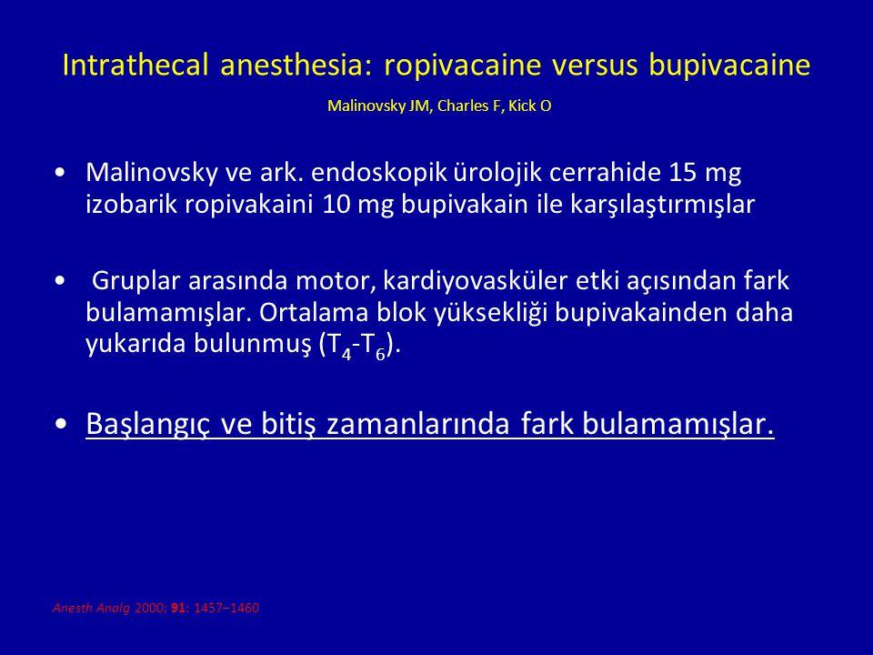 Intrathecal anesthesia: ropivacaine versus bupivacaine Malinovsky JM, Charles F, Kick O Malinovsky ve ark. endoskopik ürolojik cerrahide 15 mg izobari
