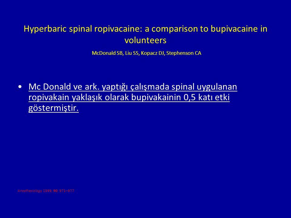 Hyperbaric spinal ropivacaine: a comparison to bupivacaine in volunteers McDonald SB, Liu SS, Kopacz DJ, Stephenson CA Mc Donald ve ark. yaptığı çalış