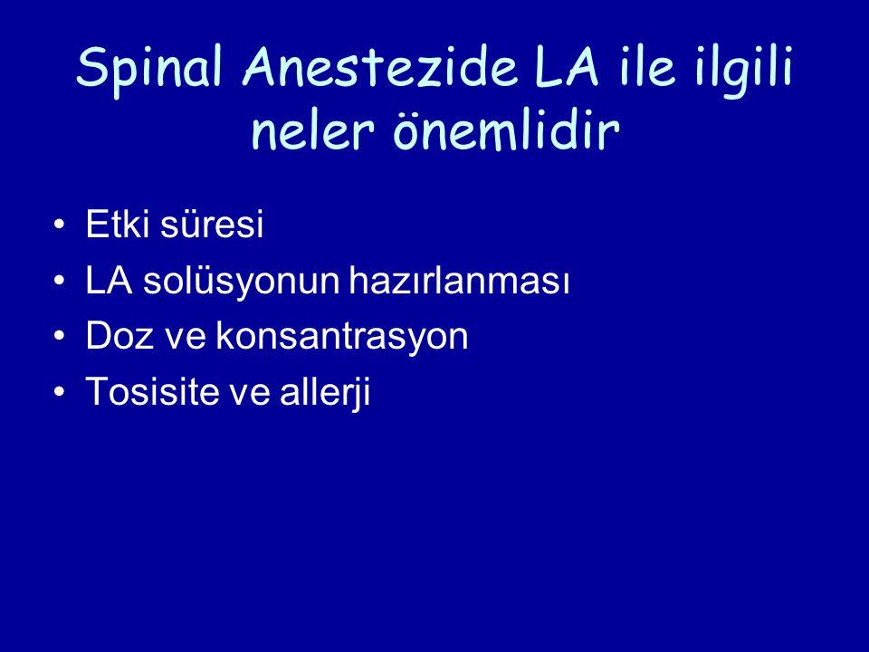 Spinal Anestezide LA ile ilgili neler önemlidir Etki süresi LA solüsyonun hazırlanması Doz ve konsantrasyon Tosisite ve allerji