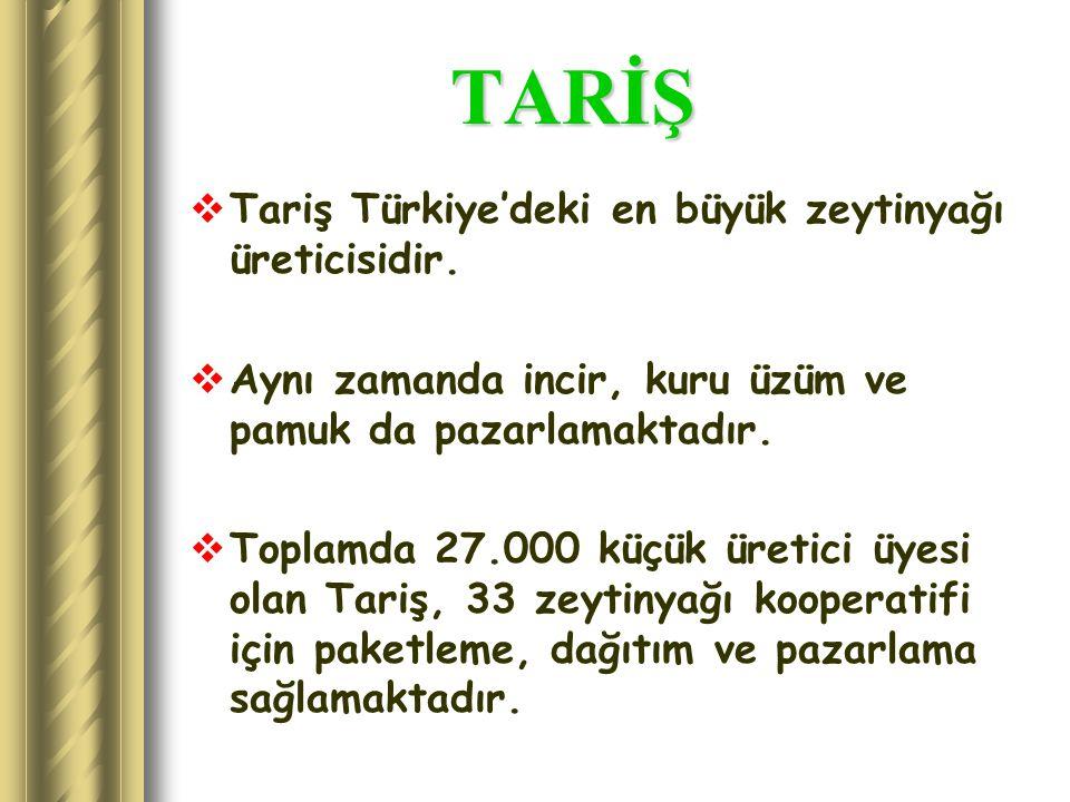 TARİŞ TARİŞ  Tariş Türkiye'deki en büyük zeytinyağı üreticisidir.  Aynı zamanda incir, kuru üzüm ve pamuk da pazarlamaktadır.  Toplamda 27.000 küçü
