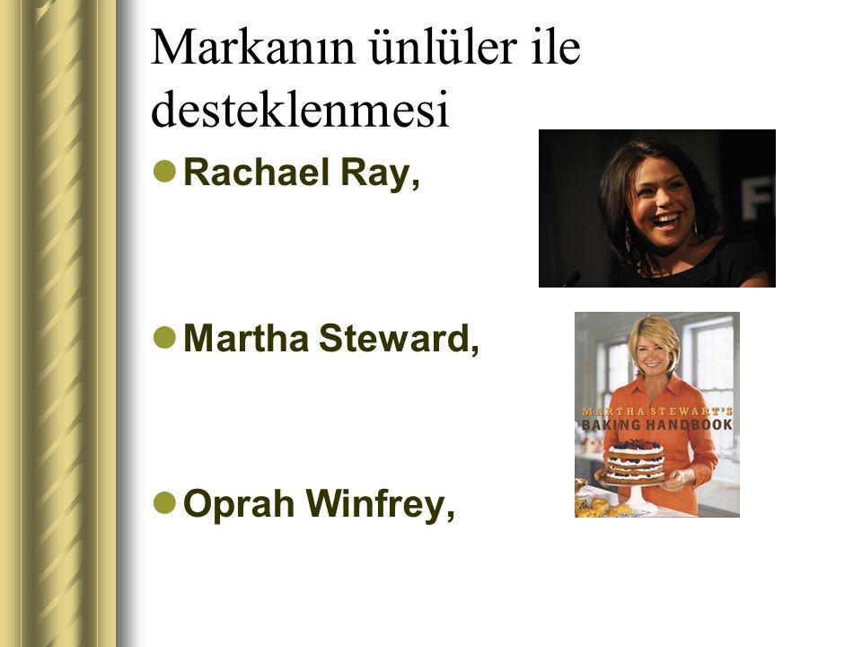 Markanın ünlüler ile desteklenmesi Rachael Ray, Martha Steward, Oprah Winfrey,