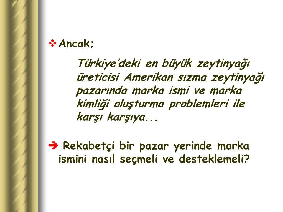  Ancak; Türkiye'deki en büyük zeytinyağı üreticisi Amerikan sızma zeytinyağı pazarında marka ismi ve marka kimliği oluşturma problemleri ile karşı ka