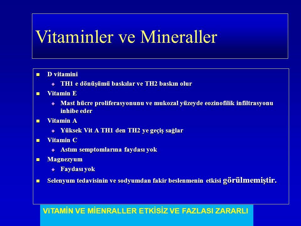 D vitamini D vitamini  TH1 e dönüşümü baskılar ve TH2 baskın olur Vitamin E Vitamin E  Mast hücre proliferasyonunu ve mukozal yüzeyde eozinofilik in