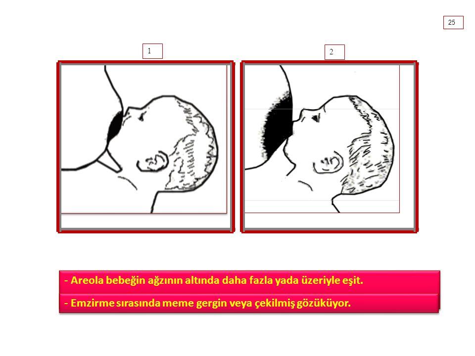 1 2 - Areola bebeğin ağzının altında daha fazla yada üzeriyle eşit.