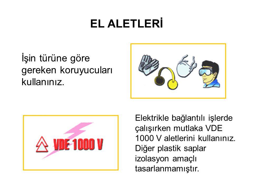 EL ALETLERİ İşin türüne göre gereken koruyucuları kullanınız. Elektrikle bağlantılı işlerde çalışırken mutlaka VDE 1000 V aletlerini kullanınız. Diğer