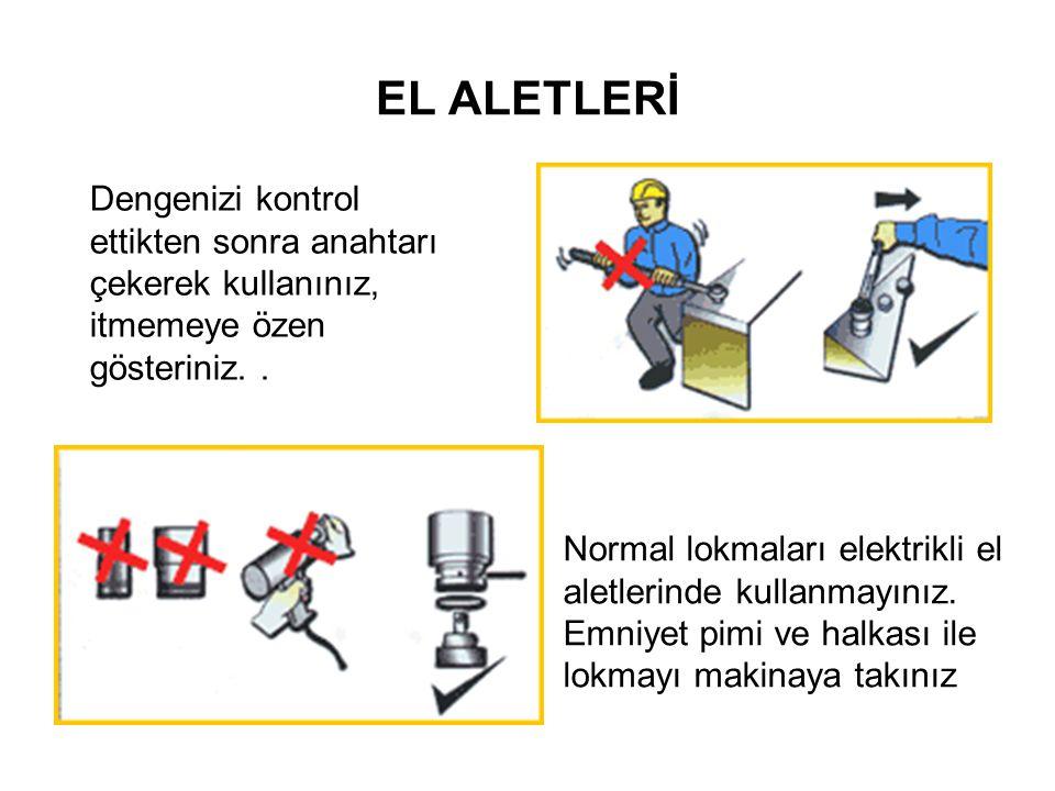 EL ALETLERİ Dengenizi kontrol ettikten sonra anahtarı çekerek kullanınız, itmemeye özen gösteriniz.. Normal lokmaları elektrikli el aletlerinde kullan