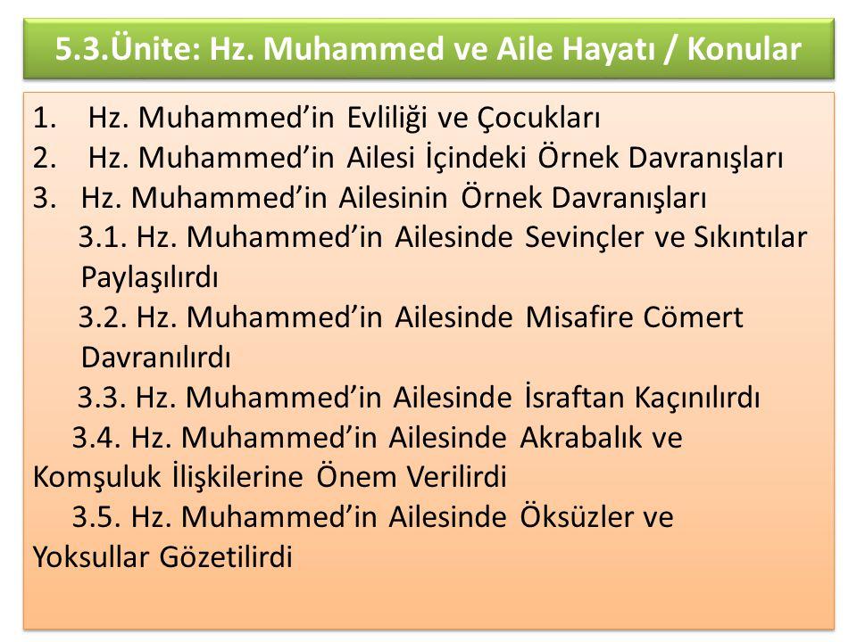 5.3.Ünite: Hz. Muhammed ve Aile Hayatı / Konular 1. Hz. Muhammed'in Evliliği ve Çocukları 2. Hz. Muhammed'in Ailesi İçindeki Örnek Davranışları 3.Hz.