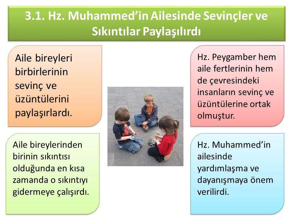 3.1. Hz. Muhammed'in Ailesinde Sevinçler ve Sıkıntılar Paylaşılırdı Hz. Muhammed'in ailesinde yardımlaşma ve dayanışmaya önem verilirdi. Aile bireyler