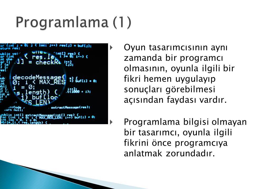  Oyun tasarımcısının aynı zamanda bir programcı olmasının, oyunla ilgili bir fikri hemen uygulayıp sonuçları görebilmesi açısından faydası vardır.