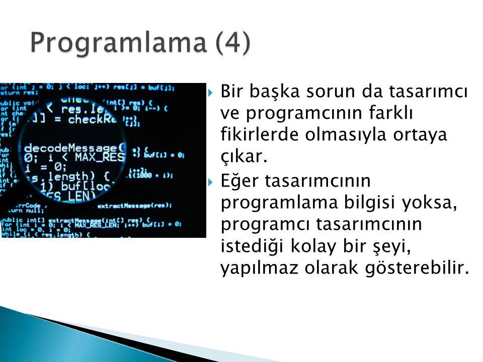  Bir başka sorun da tasarımcı ve programcının farklı fikirlerde olmasıyla ortaya çıkar.