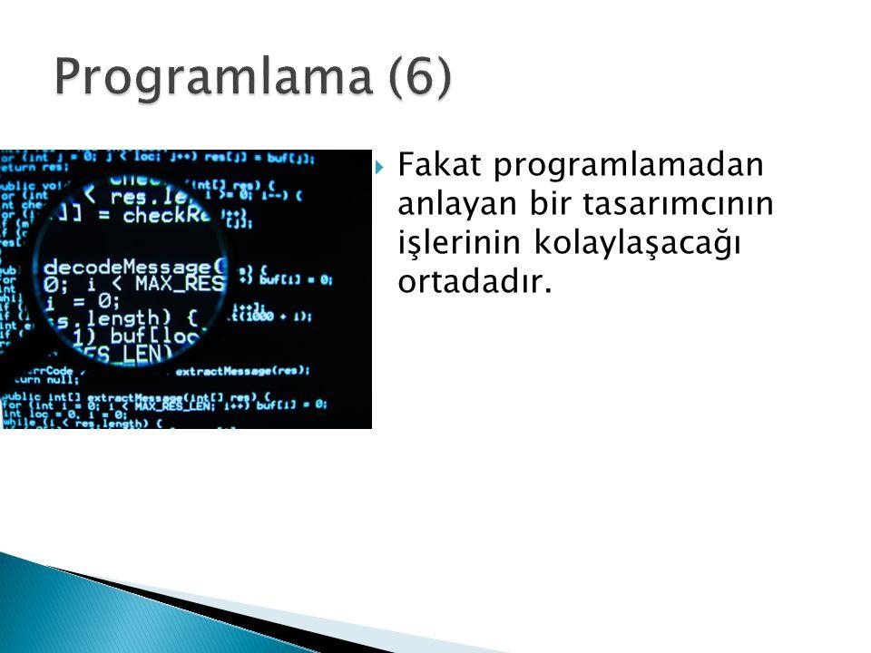  Fakat programlamadan anlayan bir tasarımcının işlerinin kolaylaşacağı ortadadır.