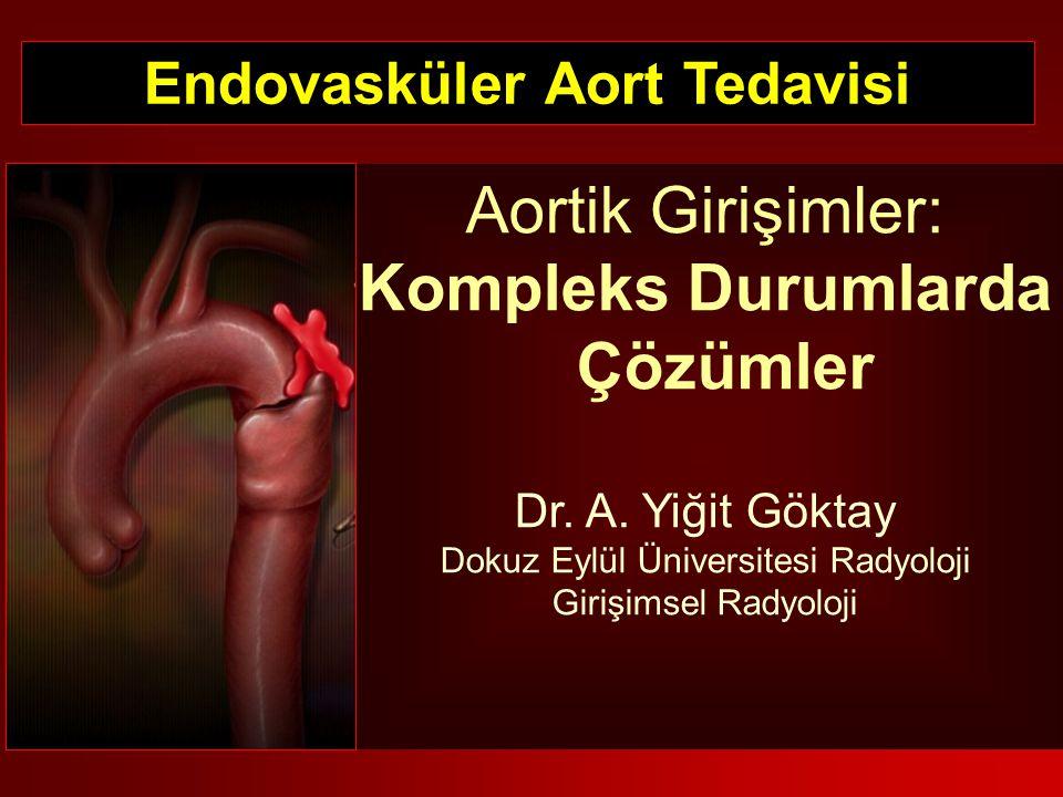Taşıyıcı sistemi zor ilerletme Taşıyıcı sistemi zorla ilerletme = KOMPLİKASYON Endarterektomi Rüptür Klamp-cerrahi onarım Balon+stent greft Erişim damarı hasarlanması % 4.8* *Drury D, Michaels J, Jones L, et al: A systematic review of the recent evidence for the safety and efficacy of elective endovascular repair in the management of infrarenal abdominal aortic aneurysms.