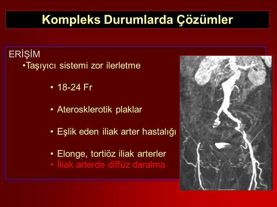 TRAVMATİK AORT PATOLOJİLERİNDE TANI ERİŞİM Taşıyıcı sistemi zor ilerletme 18-24 Fr Aterosklerotik plaklar Eşlik eden iliak arter hastalığı Elonge, tor