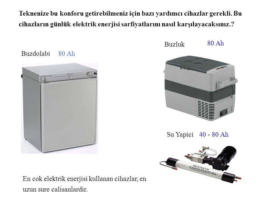 30 - 50 Ah Elektrik ile çalisan düşük sarfiyatlı diğer cihazlarin günlük elektrik sarfiyatları, kullanım sürelerine bağlı olarak değişir.