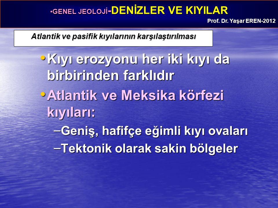 GENEL JEOLOJİ -DENİZLER VE KIYILARGENEL JEOLOJİ -DENİZLER VE KIYILAR Prof. Dr. Yaşar EREN-2012 Atlantik ve pasifik kıyılarının karşılaştırılması Kıyı
