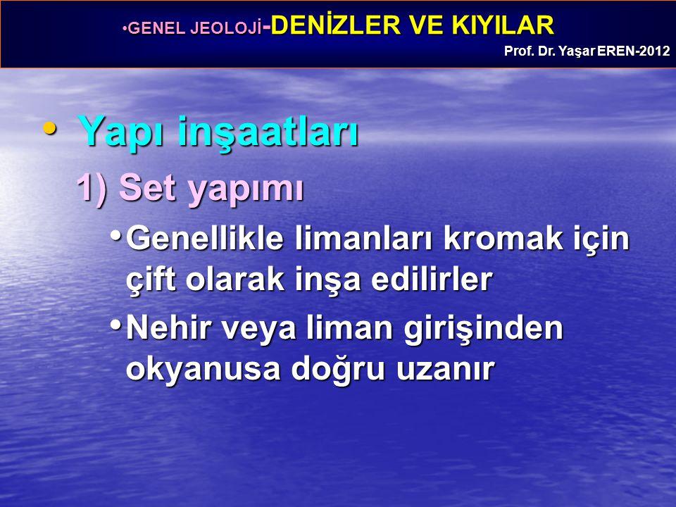 GENEL JEOLOJİ -DENİZLER VE KIYILARGENEL JEOLOJİ -DENİZLER VE KIYILAR Prof. Dr. Yaşar EREN-2012 Yapı inşaatları Yapı inşaatları 1) Set yapımı Genellikl