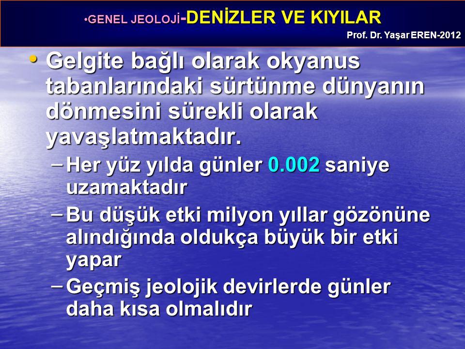 GENEL JEOLOJİ -DENİZLER VE KIYILARGENEL JEOLOJİ -DENİZLER VE KIYILAR Prof. Dr. Yaşar EREN-2012 Gelgite bağlı olarak okyanus tabanlarındaki sürtünme dü