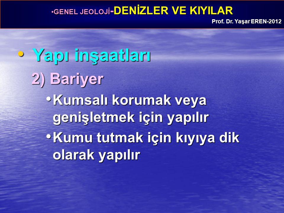 GENEL JEOLOJİ -DENİZLER VE KIYILARGENEL JEOLOJİ -DENİZLER VE KIYILAR Prof. Dr. Yaşar EREN-2012 Yapı inşaatları Yapı inşaatları 2) Bariyer Kumsalı koru