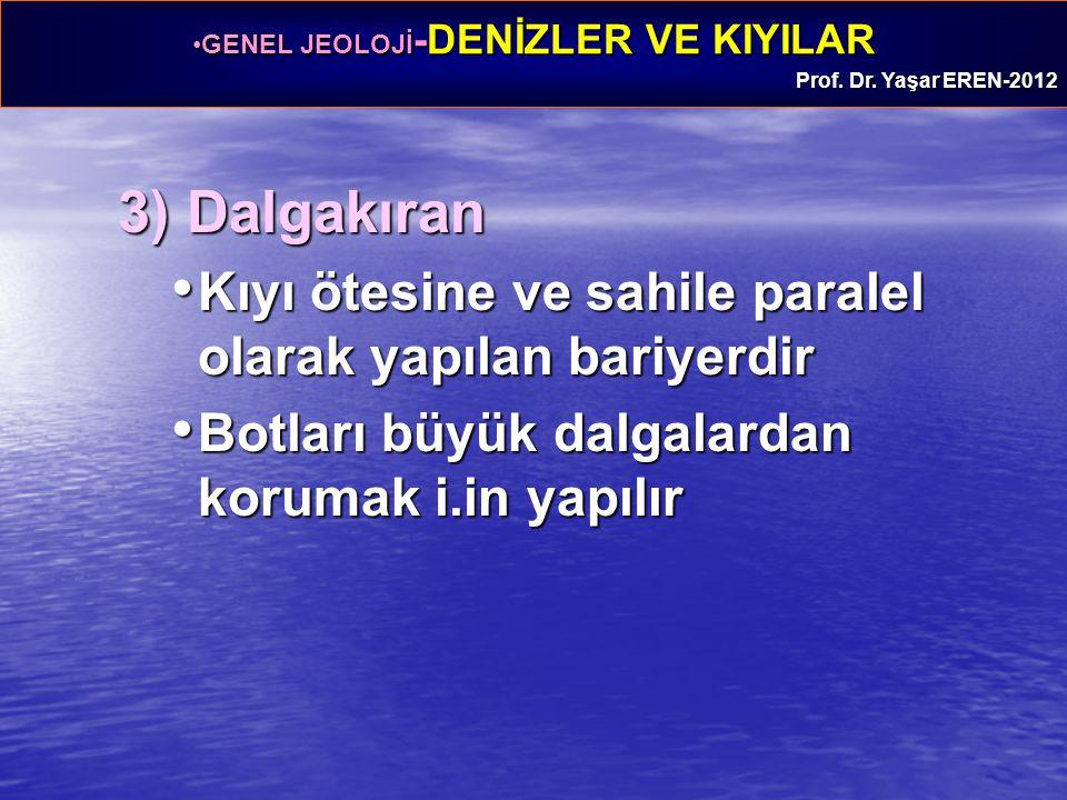 GENEL JEOLOJİ -DENİZLER VE KIYILARGENEL JEOLOJİ -DENİZLER VE KIYILAR Prof. Dr. Yaşar EREN-2012 3) Dalgakıran Kıyı ötesine ve sahile paralel olarak yap