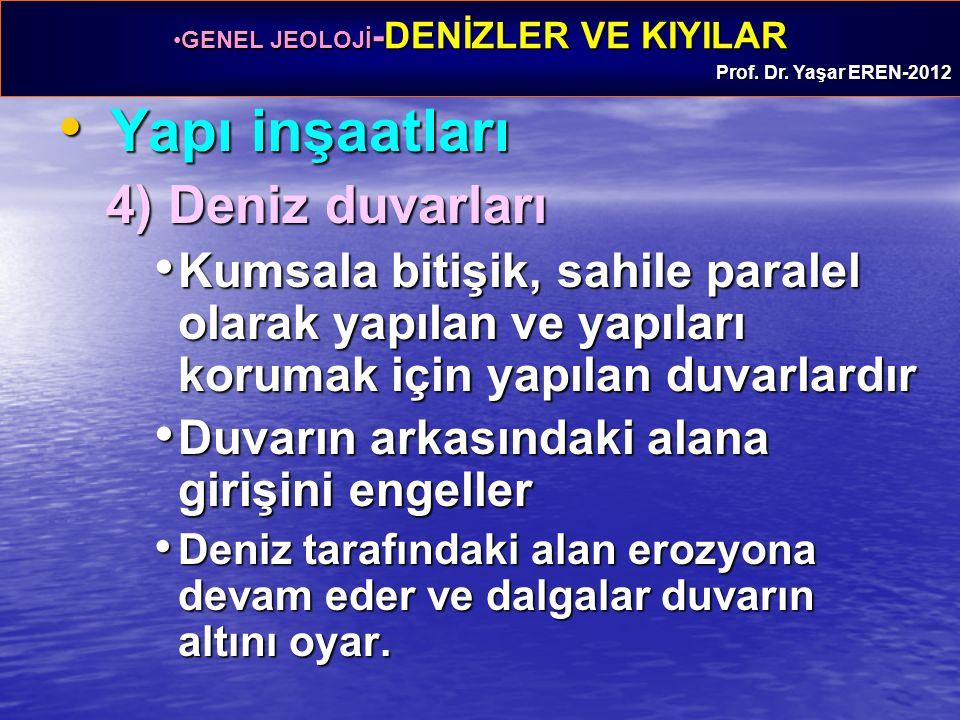 GENEL JEOLOJİ -DENİZLER VE KIYILARGENEL JEOLOJİ -DENİZLER VE KIYILAR Prof. Dr. Yaşar EREN-2012 Yapı inşaatları Yapı inşaatları 4) Deniz duvarları Kums