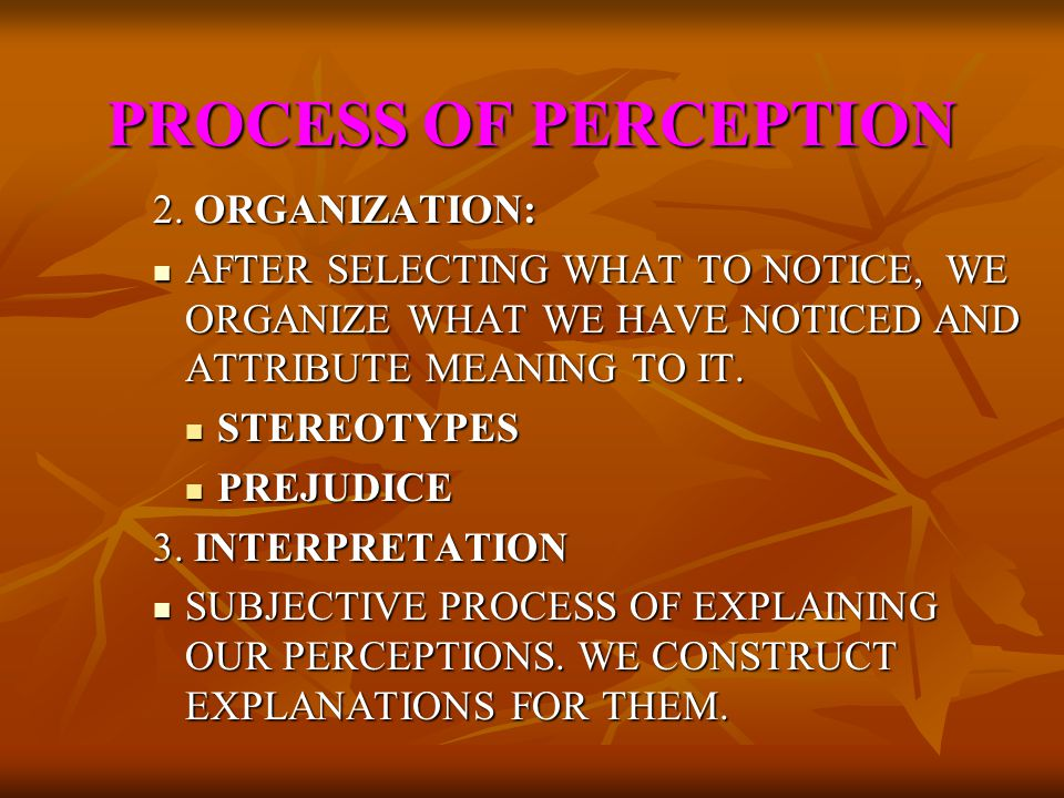 PROCESS OF PERCEPTION PROCESS OF PERCEPTION PERCEPTION IS AN ACTICE PROCESS OF CREATING MEANING BY SELECTING, ORGANIZING AND INTERPRETING PEOPLE, OBJE