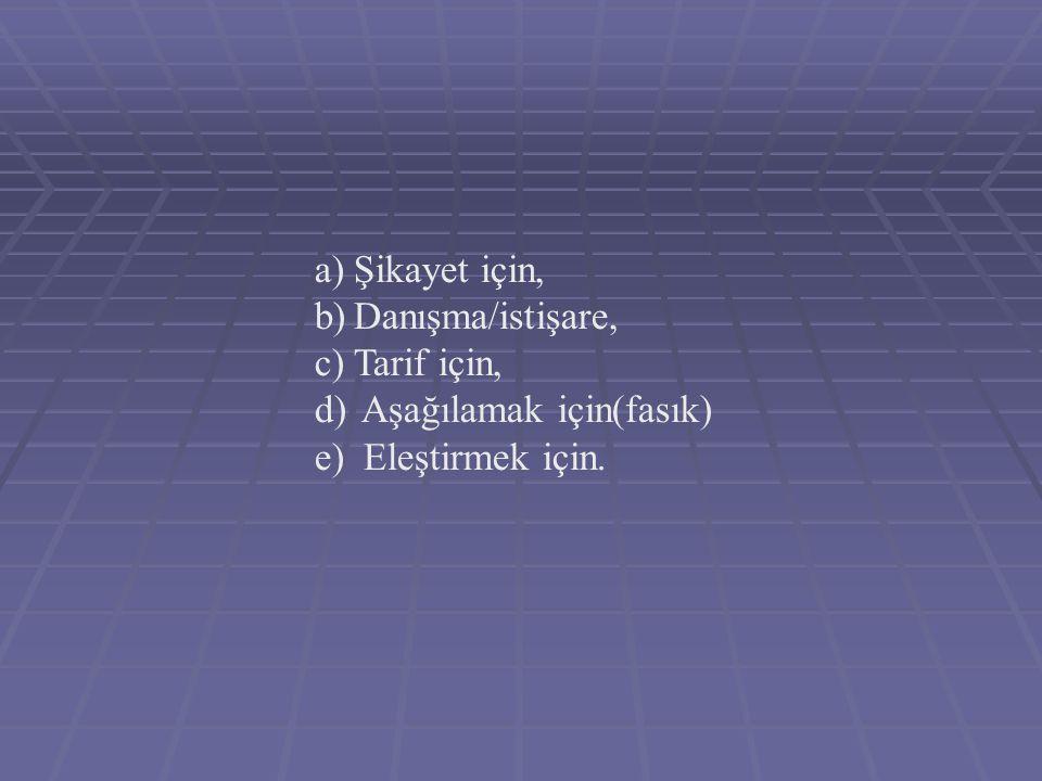 a)Şikayet için, b)Danışma/istişare, c)Tarif için, d) Aşağılamak için(fasık) e) Eleştirmek için.