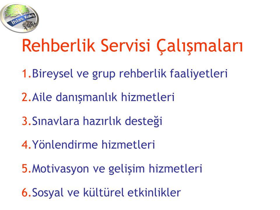 Rehberlik Servisi Çalışmaları 1.Bireysel ve grup rehberlik faaliyetleri 2.Aile danışmanlık hizmetleri 3.Sınavlara hazırlık desteği 4.Yönlendirme hizme