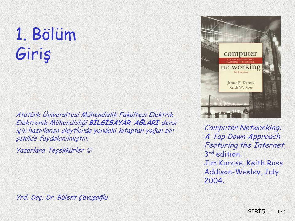 GİRİŞ1-2 1. Bölüm Giriş Computer Networking: A Top Down Approach Featuring the Internet, 3 rd edition. Jim Kurose, Keith Ross Addison-Wesley, July 200