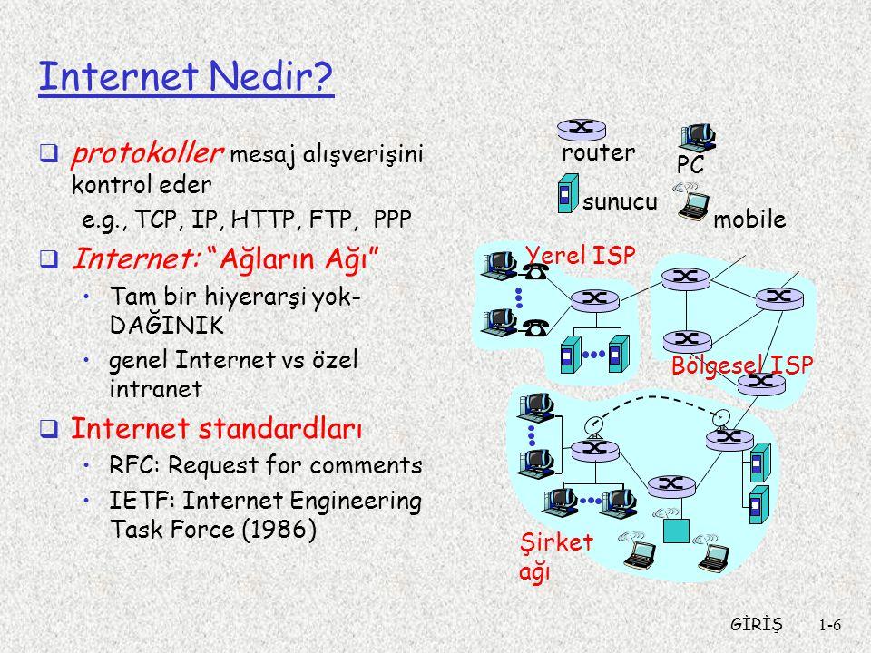 GİRİŞ1-7 Internet Nedir: Bir servis bakışı  Haberleşme altyapısı dağınık uygulamaların çalışmasını mümkün kılar: Web, e-posta, oyunlar, e- ticaret, dosya paylaşımı  Uygulamalara sağlanan haberleşme servisleri: Bağlantısız—Güvenilir Değil Bağlantılı-- Güvenilir